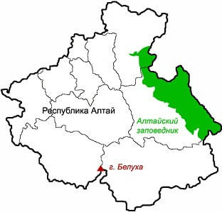 Алтайский заповедник на карте