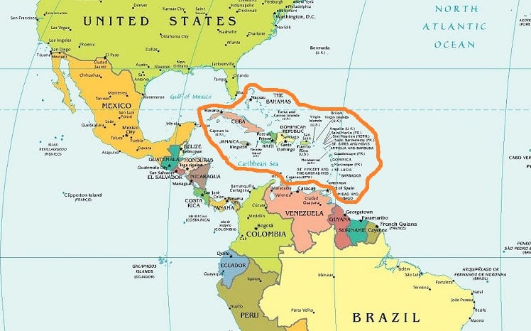 Карибские острова карта мира аренда квартир домов в дубай