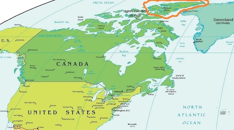 Остров Элсмир на карте