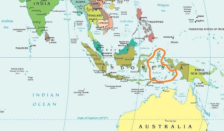 Молуккские острова на карте