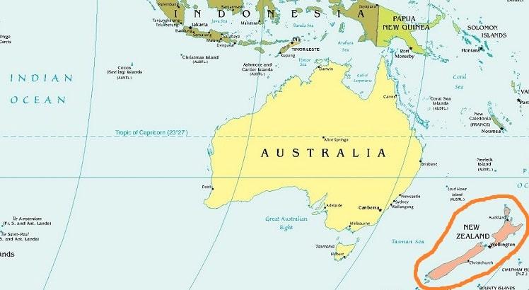 Новая Зеландия на карте