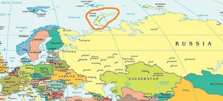 Архипелаг Новая Земля на карте