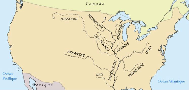 Река Миссисипи на карте