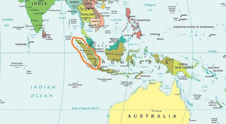 Остров Суматра на карте