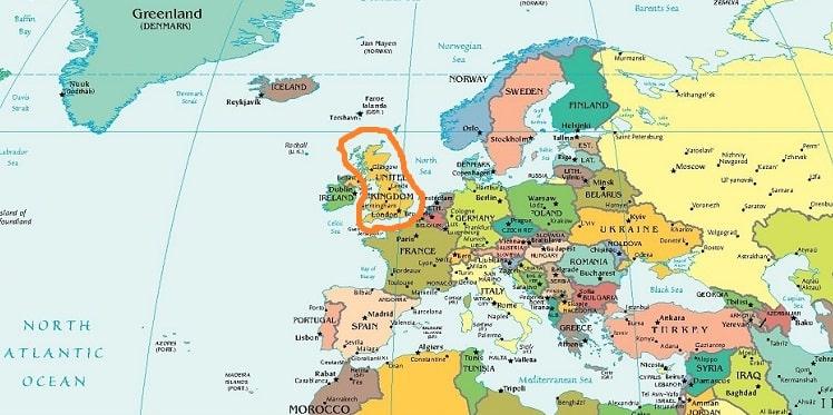 Остров Великобритания на карте